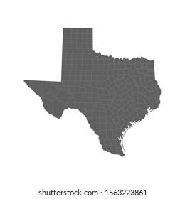 Vector illustration of grey Texas map. Vector map.