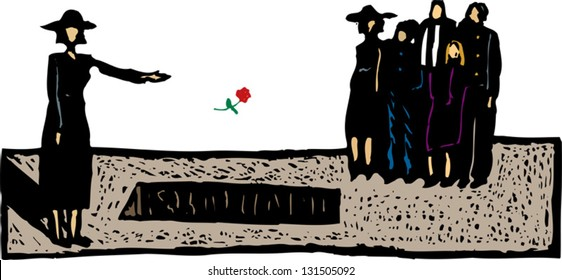 Vector illustration of grieving widow throwing flower into grave