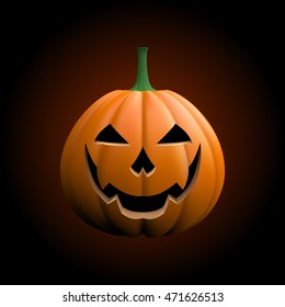 Vector illustration. Grinning pumpkin for happy Halloween on a dark background.