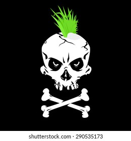 A vector illustration of a grinning skull with a Mohican. Punk Skull icon illustration. Punk symbol a skull and crossbones with a green  Mowhawk.