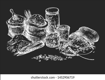 Vector illustration of grocery croup and cereal set. Rice, corn, wheat, oat, oatmeal, peas, beans in eco packaging, cloth sacks bags for farmers market craft shop. On black board chalk hand drawing