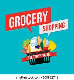 Vector illustration of grocery shopping banner with various of goods. Promotion everyday value concept
