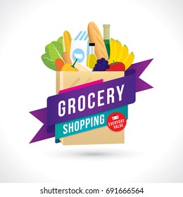 Vector illustration of grocery shopping banner with various goods.