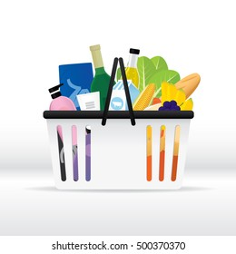 Vector illustration of grocery shopping basket with various of goods.