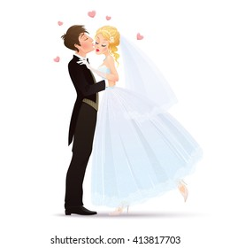 Vector illustration with groom kissing his charming and shyness bride. Isolated om white background