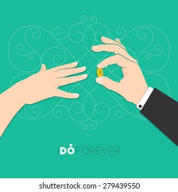 Vector illustration of groom's hand putting wedding ring on bride's finger for your design