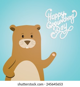 Vector illustration with groundhog and text. Happy Groundhog Day Theme.