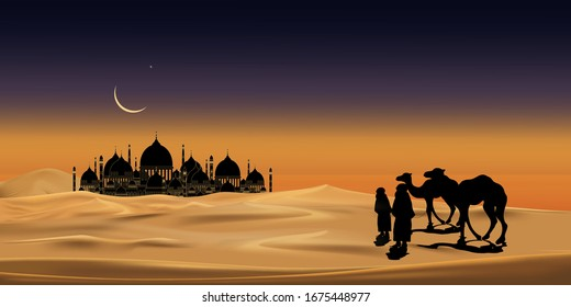 Vector illustration group of Arab people with camels caravan riding in realistic desert sands, Caravan Muslim ride camel to mosque at night with crescent Moon , Background for Ramadan Kareem