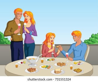 Vector illustration of a group of blonde friends out for brunch.