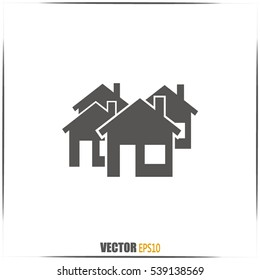 Vector illustration with group of cottages. Abstract sign of rea