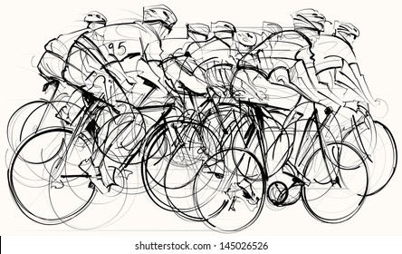 Vector illustration of a group of cyclists in competition