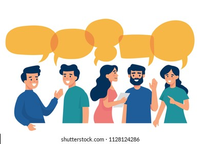 vector illustration group discussion, friends talk to each other with speech bubbles