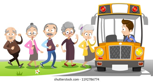 Image result for bus full of old people clip art