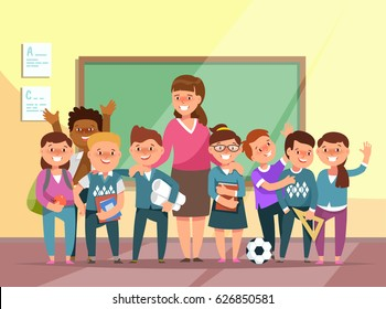 Vector illustration group elementary school boy and girl and teacher in classroom in cartoon style. The design concept postcard for teachers ' day