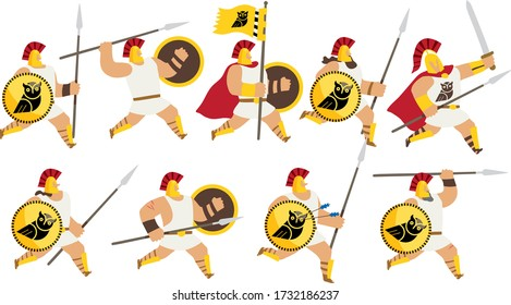 Vector illustration of a group of fantasy ancient greek warrior men with white robes, running with spears, swords and shields with a black owl emblem. Isolated on white background. Editable vector