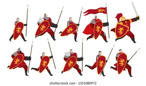 Vector illustration of a group of fantasy medieval warrior men with red robes, running with spears, swords and shields with a golden lion emblem. Isolated on white background. Editable