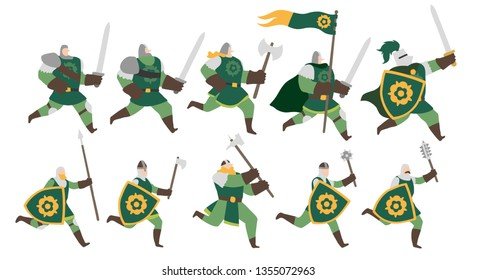 Vector illustration of a group of fantasy medieval soldier and warrior men with green robes, running with spears, swords and shields with a golden flower emblem. Isolated on white background. Editable