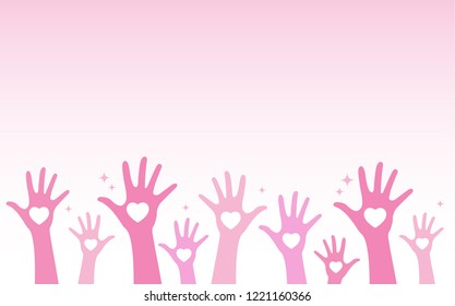 Vector illustration group of hand raise up many people with shape heart and copy space. International volunteer day and community service concept
