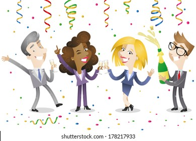 Vector illustration of a group of happy cartoon business men and women celebrating and drinking champagne with festoons and confetti raining down on them.