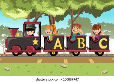 A vector illustration of a group of kids riding an alphabet train