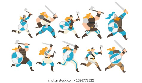Vector illustration of a group of male and female viking warriors running with axes, swords and blue and white shields. Isolated on white background, full editable.