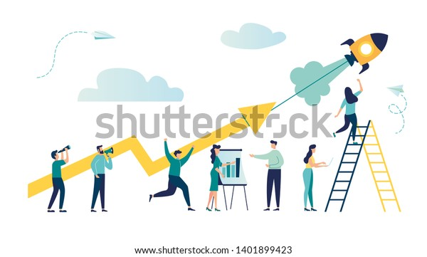 vector illustration a group of people characters are thinking over an idea. prepare a business project start up. rise of the career to success, flat color icons, business analysis vector