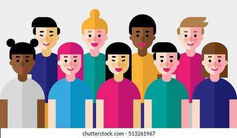 Vector illustration of group of people of different nationalities and skin color. Race equality, tolerance, diversity