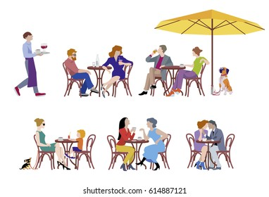 A vector illustration of group of people. Series of fashion people, men and women, sitting and drinking coffee in the street cafe. Character set.
