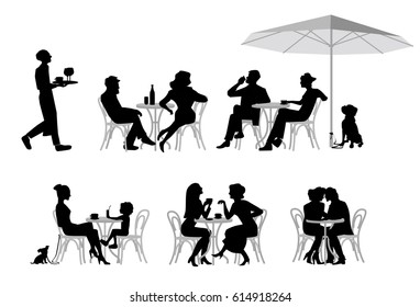 A vector illustration of group of people. Series of fashion people, men and women, sitting and drinking coffee in the street cafe.