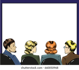 Vector illustration of group of people spectators. Listeners sitting back in first row in retro pop art comic style.