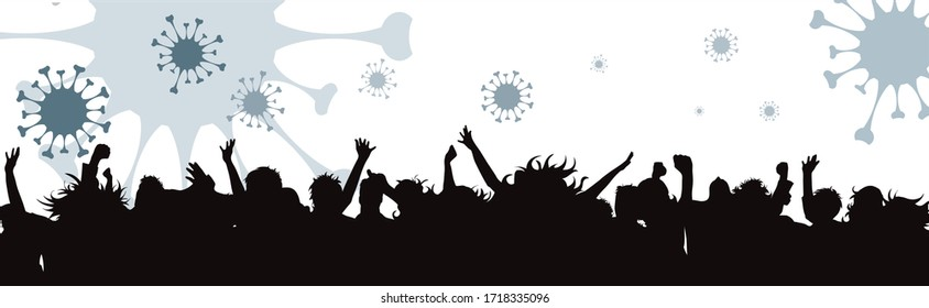 Vector illustration of group people with spreading virus sign in air. Symbol of disease and coronavirus.