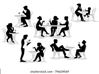 A vector illustration of group of people such silhouette. Series of fashion people, men and women, sitting, eating and drinking wine in the cafe. Characters set.