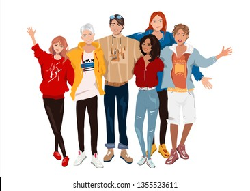 Vector illustration group portrait of smiling friends standing together. Fashion teenage boys and girls embracing each other. Happy people isolated on white background. Detalized cartoon