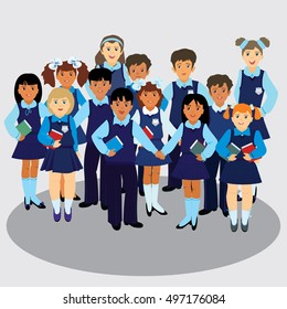 Ilustración vectorial. Un grupo de alumnos de diferentes nacionalidades uniformados. Retrato en pleno crecimiento.