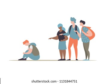 Vector illustration group students or school people bullying and suppress the guy sitting on the floor. Concept discrimination, racism and negative communication in school and society