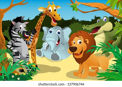 A vector illustration of a group of wild African animals in the jungle