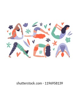 Vector illustration - group of yoga woman. Set of woman in different asanas
