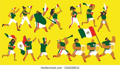 Vector illustration of a group of young and old men and women in sports clothes and jerseys celebrating the victory of Mexico national team with flags, and trumpets. Isolated and with editable colors