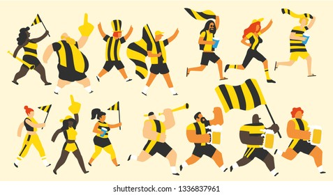 Vector illustration of a group of young and old men and women celebrating a sports team victory with yellow and black jerseys and flags, drinks and trumpets. Isolated and with editable colors