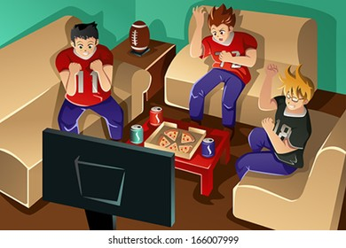 A vector illustration of group of young people watching American football on TV and eating pizza and drinking soda