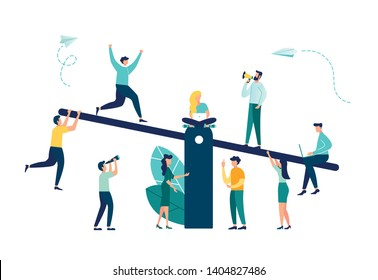 Vector illustration of groups of people on a swing and outweighs them, the concept of overweight, cost, power and comparison