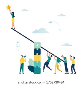 Vector illustration, groups of people on a swing and a steady pyramid of puzzles, teamwork to get a star from the sky, achieving success