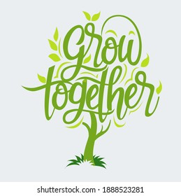 Vector illustration, grow together symbol or icon