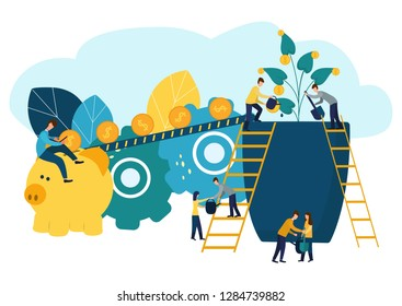 Vector illustration, growing a flower with coins and money, caring for a flower, watering coins, growing and making money, profit, a symbol of successful business