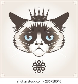 Vector illustration of the grumpy cat with crown
