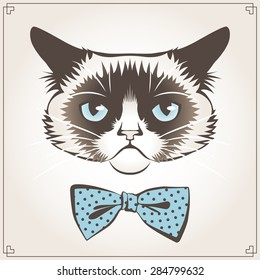 Vector illustration of the grumpy cat with dotted bow tie