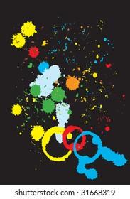 Vector illustration of Grunge color paint splashes