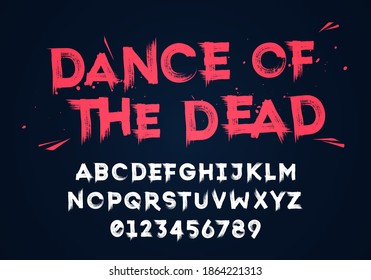 Vector Illustration Grunge Horror Typographie. Hand Made Brush Font.