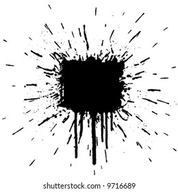 Vector illustration of a grunge ink splatter design element. Explosion.