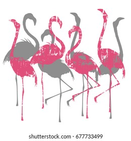 Vector illustration with grunge pink and realistic silver silhouettes of flamingo for making two-colors prints on t-shirts and other fabrics.